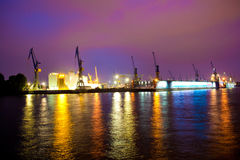 Sea or river port in night time. Elbe, Hamburg Royalty Free Stock Images