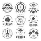 Sea Robbers Monochrome Emblems. With piratic symbol compass weapons sailboat rum bottle chest ribbon isolated vector illustration Stock Photography