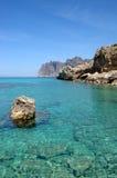 Sea rock and sky. At Cala San Vincent, Mallorca royalty free stock photo