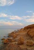 Sea and rock at the sunset. Red sea, Egypt. Royalty Free Stock Photos