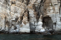 Sea rocks. Volcanic sea rocks in Greece Stock Photo