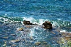 Sea and rocks background, in Piombino, Livorno, landscape Stock Image