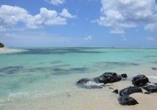 Sea & rocks. Beautiful coast of Ile aux Cerfs, Mauritius Royalty Free Stock Images