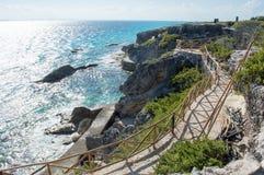 Sea, rocks, island of Isla Mujeres. Mexico. The Caribbean sea Stock Image