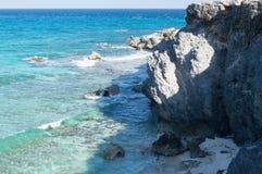 Sea, rocks, island of Isla Mujeres. Mexico. Royalty Free Stock Photos