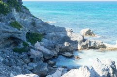 Sea, rocks, island of Isla Mujeres. Mexico. The Caribbean sea Royalty Free Stock Images