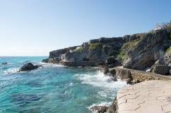 Sea, rocks, island of Isla Mujeres. Mexico. The Caribbean sea Royalty Free Stock Photos