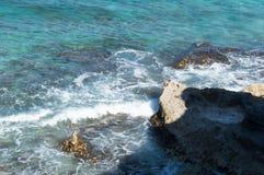 Sea, rocks, island of Isla Mujeres. Mexico. The Caribbean sea Royalty Free Stock Photography