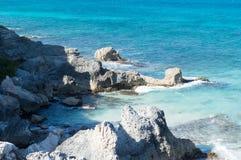 Sea, rocks, island of Isla Mujeres. Mexico. Stock Images