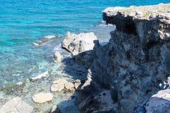 Sea, rocks, island of Isla Mujeres. Mexico. The Caribbean sea Stock Photography