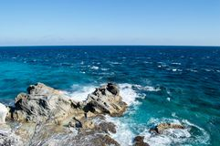 Sea, rocks, island of Isla Mujeres. Mexico. Royalty Free Stock Images