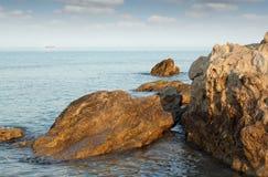 Sea rocks and ship Royalty Free Stock Photo
