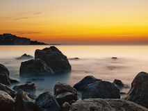 Sea rocks at sunrise Royalty Free Stock Photography