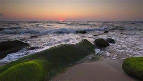 Sea rocks at sunrise stock video