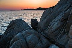 Sea rocks at sunset, west coast of peninsula Sithonia, Chalkidiki Stock Photo