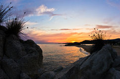Sea rocks at sunset, west coast of Sithonia, Chalkidiki Stock Photo
