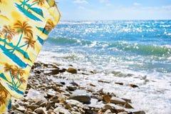 Sea rocky beach and umbrella Stock Image