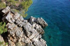 Sea rocky coast. A beautiful rocky coast on the Аdriatic sea. Budva, Montenegro Stock Image
