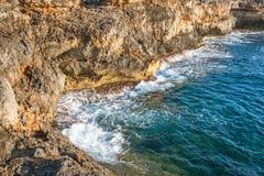 Sea at the rocky coast of the Spanish island Mallorca. Sea at the rocky coast of the Spanish island Mallorca, Europe Royalty Free Stock Photos