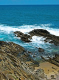 Sea and Rocky Shore. Rocky Shore along the Indian Ocean in Sri Lanka Stock Photography