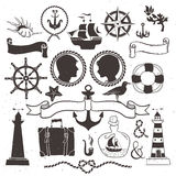 Sea romantic travel. Vintage hand drawn elements in nautical