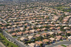 Sea of Rooftops. Red Roofs under Blue Skies, Suburbia in Arizona Stock Photography