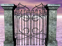 Sea's Gate. A wrought iron gate opening to the sea Royalty Free Stock Image