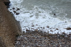Sea in S Martinho do Porto - Portugal. Sea and hill in S Martinho do Porto - Portugal Royalty Free Stock Photo