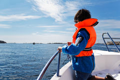Sea Safety. Sea safety photo of a 7 year old child Stock Photo