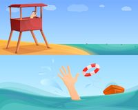 Sea safety banner set, cartoon style royalty free illustration