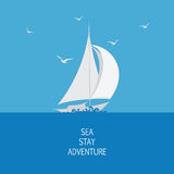 Sea, sailboat and seagulls. Emblem, logo, icon. Stylized sailboat on the waves. Design for banner, poster, printing on fabric and paper Stock Photo