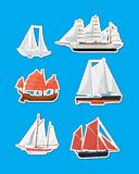 Sea sailboats side view isolated labels set. Luxury yacht, ancient oriental boat, big caravel, old brigantine vector illustration. Vintage marine cruise ships Stock Photos