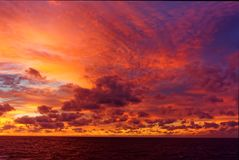 Caribbean Sea Clouds at Dusk stock photography