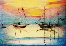 Sea, sailing-ship and angler Royalty Free Stock Image