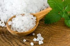 Sea salt. Healthy sea salt on wooden spoon closeup Stock Image