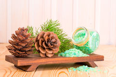 Sea salt with the addition of pine needles extract and big cones Stock Photos