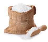 Sea salt in bag isolated on white Royalty Free Stock Images