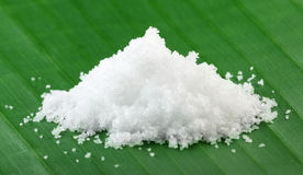Sea salt on banana leaf Stock Photos