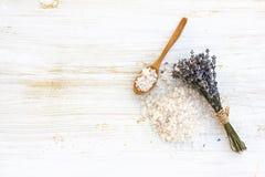Sea salt bath with lavender Stock Image