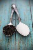 Sea salt and black pepper Royalty Free Stock Photo