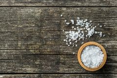 Sea salt in bowl. Royalty Free Stock Images