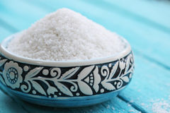 Sea salt in a  bowl Royalty Free Stock Images