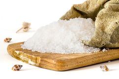 Sea Salt in a bowl on white background Stock Photography