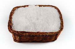 Sea Salt in a bowl on white background Royalty Free Stock Images