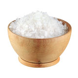 Sea Salt in a bowl on white background Royalty Free Stock Image