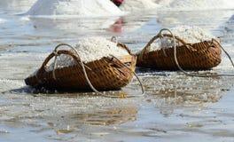 Sea salt. In the bucket on the salt farmland, Thailand stock image