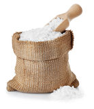 Sea salt in burlap sack isolated on white Royalty Free Stock Photography