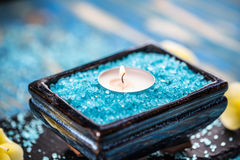 Sea salt and candle Royalty Free Stock Photos