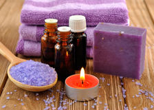 Sea salt, candles and essential oils stock photography