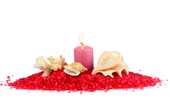 Sea salt, candles and seashells Royalty Free Stock Photos